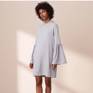 Lou & Grey Striped Hoodie Dress Bell Sleeves small